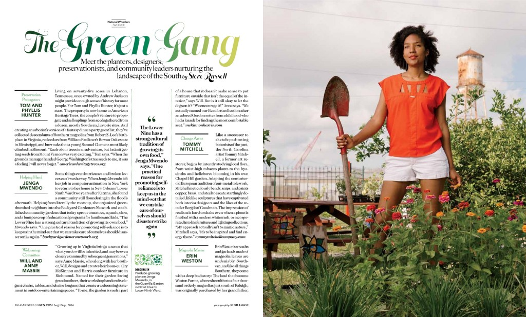 BGN Founder/Director featured in Aug/Sept 2016 issue of Garden & Gun Magazine